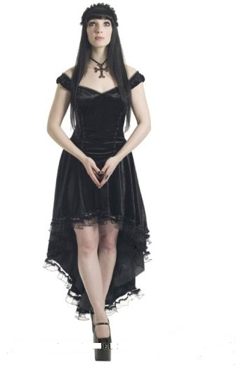 Sinister Fallen Angel Gothic Black Dress Hi Low Long Back Tail 8 10 12 14 16 18 Lees Dragon