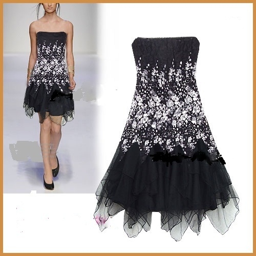 STRAPLESS SHORT BLACK FAIRY DRESS ( with attachable straps ...