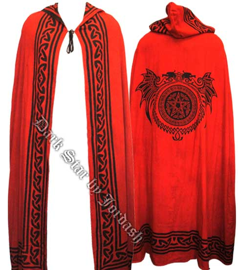 Reversible cape with celtic dragon pentagram print lee 39 s for Cape designs