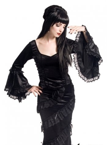 Bewitching GOTHIC SINISTER Bell long sleeve velvet TOP size S M 8 10 12 14