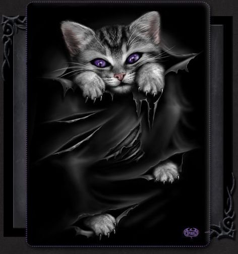 Gothic Cat Bright Eyes Fleece Larger Size Throw Blanket