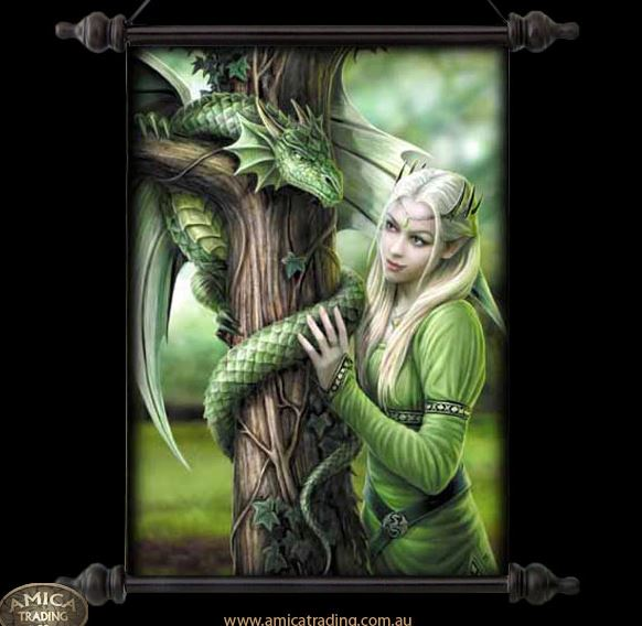 Anne Stokes Kindred Spirits Scroll Gothic Fairy Elven