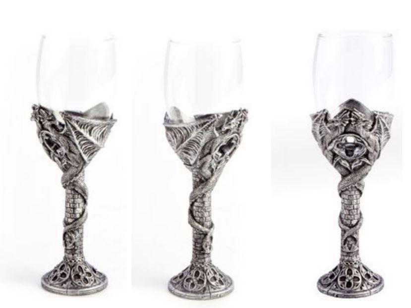 Gothic Twin Dragon Wine Glass Silver Lee 39 S Dragon Dreams