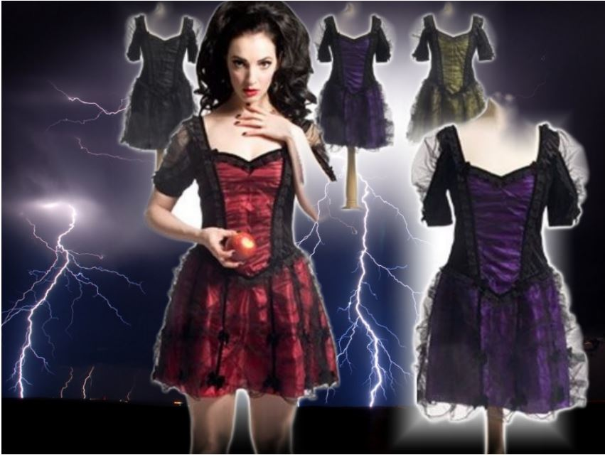 Sinister Gothic Witchy Wench Punk Faerie Mini Dress Black with Red or Purple