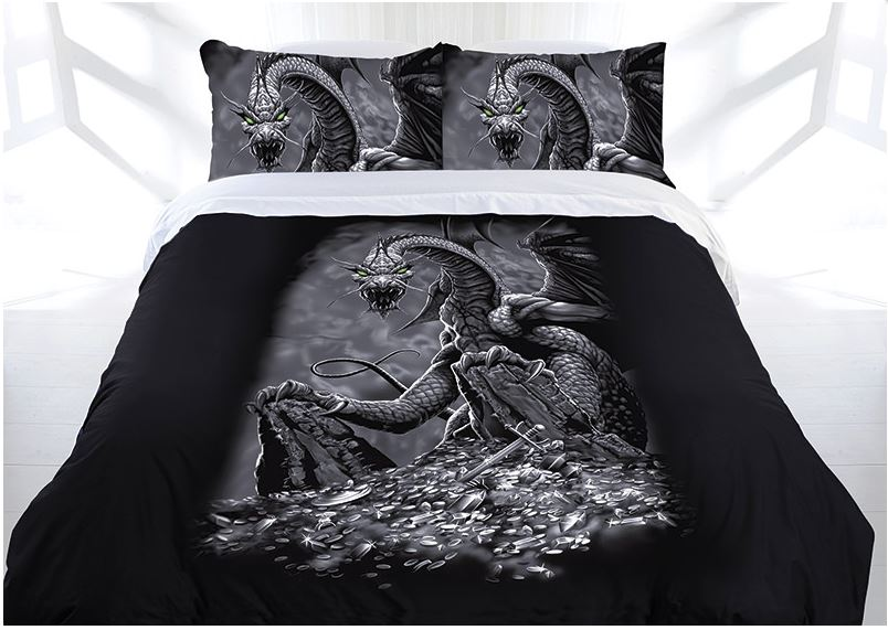 Gothic Green Eyed Dragon Bed Doona Duvet Cover Set Single