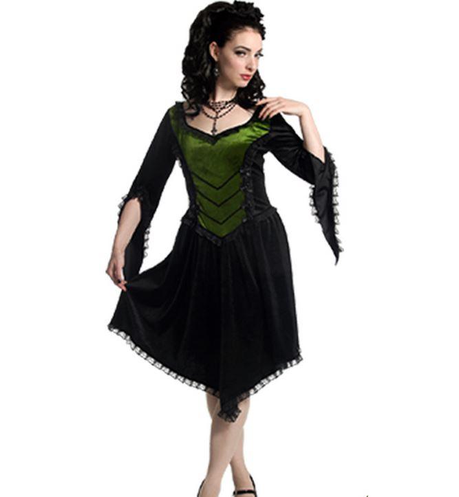 SINISTER Gothic Black Green DARK FAERIE Velvet Witch Dress 8 10 12 14