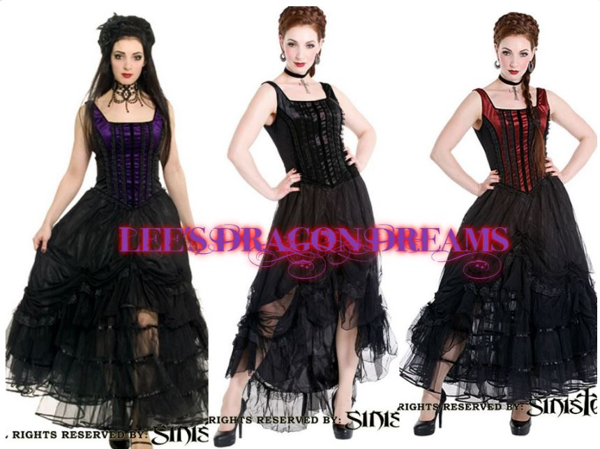 SINISTER GOTHIC WENCH SALOON WITCH LONG DRESS 8 10 12 14 16