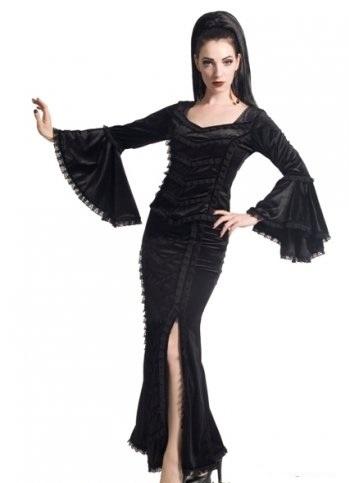 SINISTER LONG GOTHIC BLACK VELVET WITCH Vampire SKIRT 6 8 10 12 14