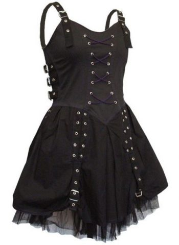 Gothic Black And Purple Buckle Corset Ruched Mini Short