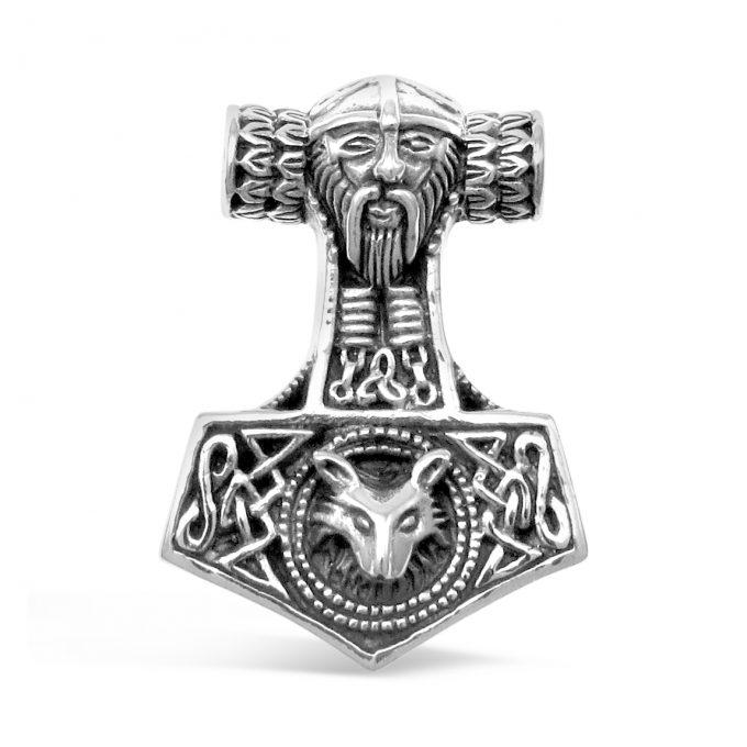 Viking Mjolnir Thors Hammer Odins Norse Fox Sterling Silver