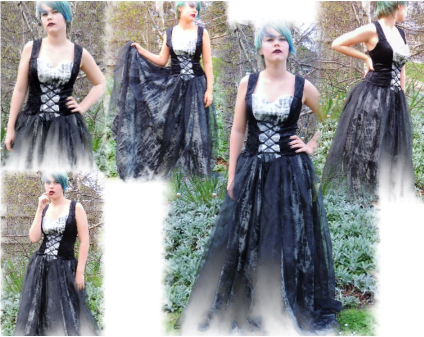 cb6ccf5dc59b3 Laughing Vampire Dress Felicity Gothic Witch Ball gown Black and white size  L/XL 12 14 16 18 - Lee's Dragon Dreams