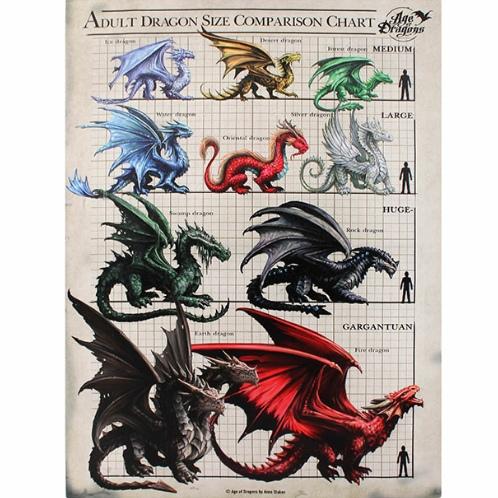 Dragon Size Comparison Chart Canvas Picture 19cm X 25cm By