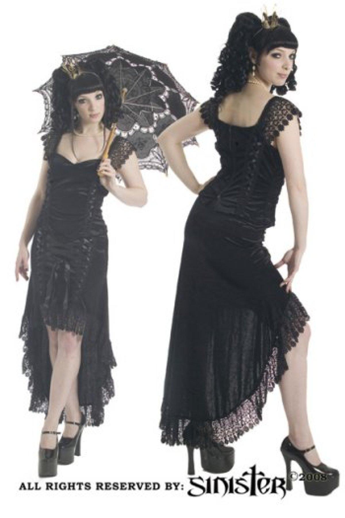 Sinister Embrace Skirt High Low Black Velvet 6 8 10